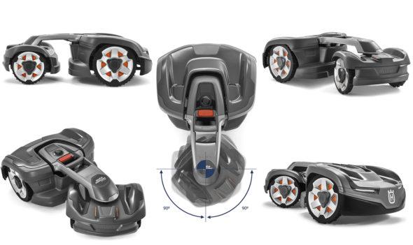 Husqvarna Automower® 435X AWD: Firehjulsdriften gjør at den alltid kommer fram, og leddstyringen gjør at den enkelt manøvrerer seg gjennom trange passasjer. Foto: Husqvarna.